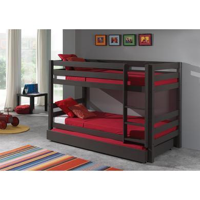 Kinderbetten - VIPACK Etagen Hochbett mit Bettschublade Pino taupe 140 cm grau Gr.90x200 cm  - Onlineshop Babymarkt