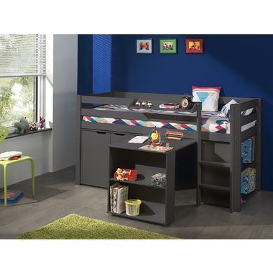 Kindertische - VIPACK Spielbett mit Schreibtisch, Regal, Hängeregal und Kommode Pino taupe grau Gr.90x200 cm  - Onlineshop Babymarkt