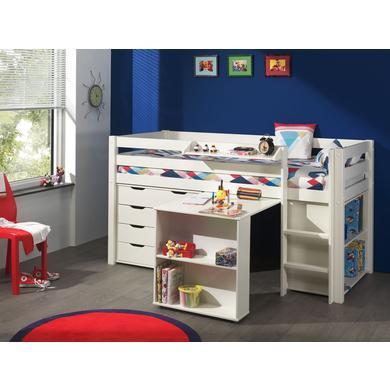 Kindertische - VIPACK Spielbett mit Schreibtisch, Regal, Hängeregal und Schubladenkommode Pino weiß Gr.90x200 cm  - Onlineshop Babymarkt