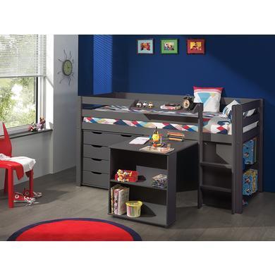Kindertische - VIPACK Spielbett mit Schreibtisch, Regal, Hängeregal und Schubladenkommode Pino taupe grau Gr.90x200 cm  - Onlineshop Babymarkt