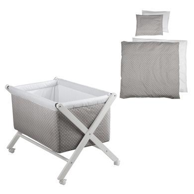 Stubenwagen und Wiegen - roba Komplett Stubenbett klappbar weiß Punkte mit Bettset  - Onlineshop Babymarkt