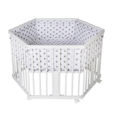 Laufgitter - Schardt Laufgitter Solitär weiß mit Einlage Big Stars grau  - Onlineshop Babymarkt