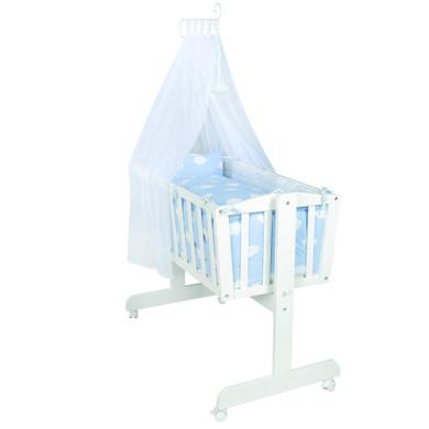 Stubenwagen und Wiegen - roba Komplettwiegenset weiß Kleine Wolke blau  - Onlineshop Babymarkt