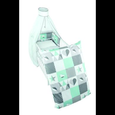 Kindertextilien - roba Kinderbettgarnitur 4 teilig 100 x 135cm Happy Patch mint bunt Gr.100x135 cm  - Onlineshop Babymarkt