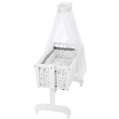 Stubenwagen und Wiegen - Alvi® Komplettpendelwiege Sina weiß 777 9 Sterne silbergrau  - Onlineshop Babymarkt