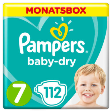 Image of Pampers Luiers Baby Dry Maat 7 Extra Large 112 Luier 15+ kg Maandbox