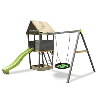 EXIT Holzspielturm mit Nestschaukel Aksent, grau