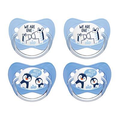 nip  Schnuller Family Gr. 3 Latex Pinguin und Zebra 4 Stück - blau