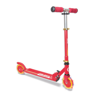 Authentic Sports Aluminium Scooter Muuwmi Scooter Patrol, Fire 125 mm mit Leuchtrollen rot