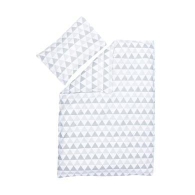 Kindertextilien - fillikid Bettwäsche Dreiecke grau  - Onlineshop Babymarkt