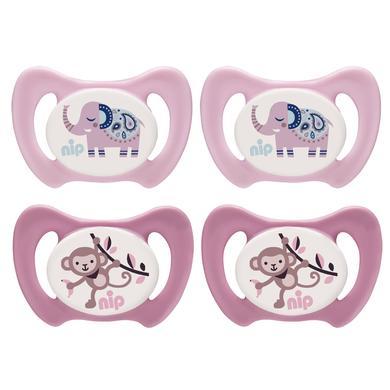 nip Schnuller Miss Denti rosa / pink Gr. 1 Silikon Elefant und Affe 4 Stück