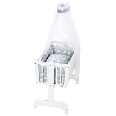 Stubenwagen und Wiegen - Alvi® Komplettpendelwiege Sina weiß 911 1 Zootiere puderblau  - Onlineshop Babymarkt