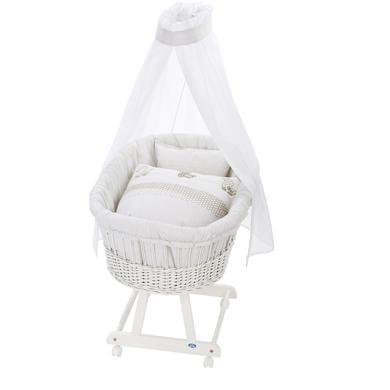 Stubenwagen und Wiegen - Alvi® Komplettstubenwagen Birthe weiß 995 6 Patch Ente beige  - Onlineshop Babymarkt