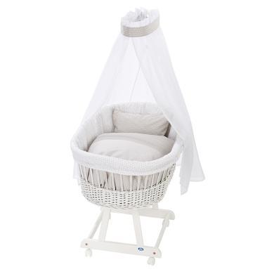 Stubenwagen und Wiegen - Alvi® Komplettstubenwagen Birthe weiß 944 8 Raute taupe  - Onlineshop Babymarkt