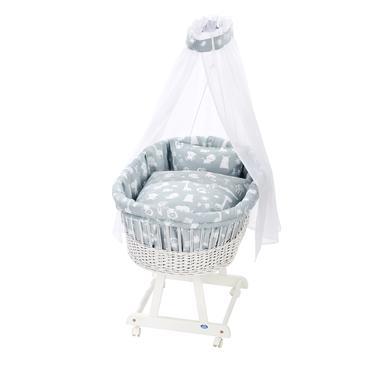 Stubenwagen und Wiegen - Alvi® Komplettstubenwagen Birthe weiß 911 1 Zootiere puderblau  - Onlineshop Babymarkt