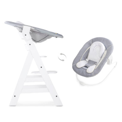 Hochstühle - hauck Hochstuhl Alpha white mit Bouncer Stretch grey weiß  - Onlineshop Babymarkt