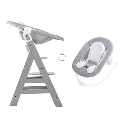 Hochstühle - hauck Hochstuhl Alpha grey mit Bouncer Stretch grey grau  - Onlineshop Babymarkt