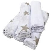 5er Pack Mullwindeln Sterne rosa Spucktuch Tücher Baby Tuch Windeln