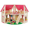 howa® Puppenhaus klappbar inkl. 21-tlg.  Möbelset und 4 Puppen