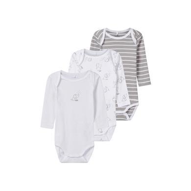 Babywaesche - name it Body 3er Pack langarm elefant alloy – weiß – Gr.56 – Unisex - Onlineshop Babymarkt