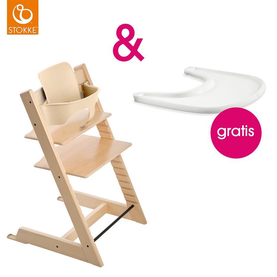Hochstühle - STOKKE® Tripp Trapp® Hochstuhl inkl. Baby Set Buche natur Gratis Tray weiß  - Onlineshop Babymarkt