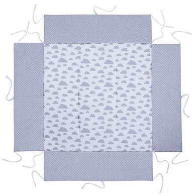 Laufgitter - LULANDO Laufgittereinlage Wölkchen weiß Pünktchen grau 100 x 100 cm  - Onlineshop Babymarkt