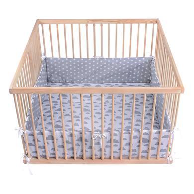 Laufgitter - LULANDO Laufgittereinlage Wölkchen weiß Sternchen grau 100 x 100 cm  - Onlineshop Babymarkt