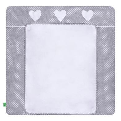 Wickelmöbel und Zubehör - LULANDO Wickelauflage mit 2 Bezügen Pünktchen grau Herz 76 x 76 cm  - Onlineshop Babymarkt