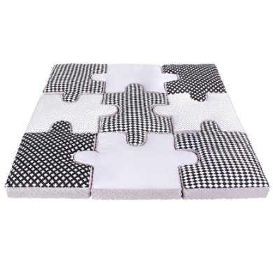 LULANDO sada polštářů puzzle 9ks, šedá 145x145 cm - pestrobarevná