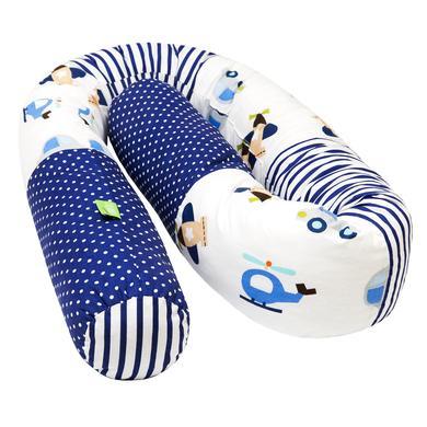 Kindertextilien - LULANDO Nestchenschlange Autos Streifen Pünktchen dunkelblau 190 cm  - Onlineshop Babymarkt