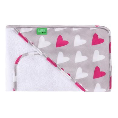 Kindertextilien - LULANDO Kapuzenbadetuch inkl. Waschlappen Herzen weiß 80 x 100 cm rosa pink  - Onlineshop Babymarkt