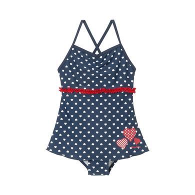 Playshoes UV Schutz Badeanzug mit Rock Herzchen blau Gr.86 92 Mädchen