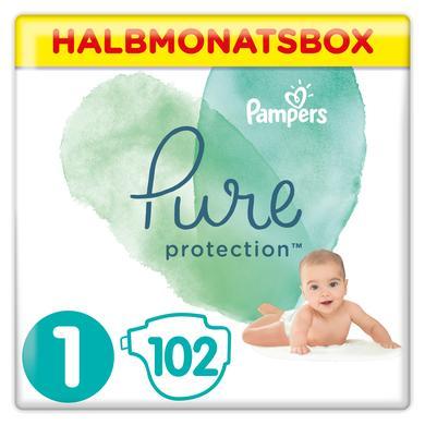 Image of Pampers Pure Protection Maat 1 Newborn 102 Luier 2-5 kg Halvemaandbox
