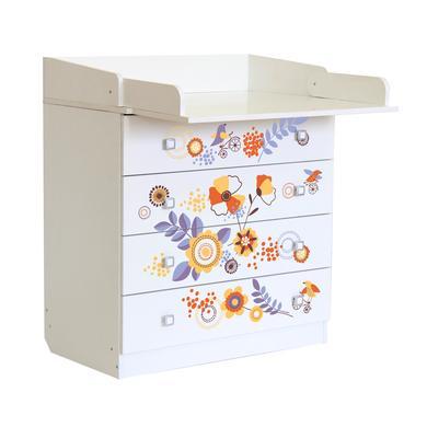 Wickelmöbel und Zubehör - Polini Kids Baby Wickelkommode Simple 1580 weiß mit Blumen  - Onlineshop Babymarkt
