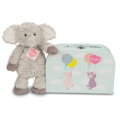 Teddy HERMANN Herzenkind slon Smartie s kufrem - šedá