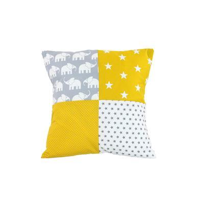 Kindertextilien - Ullenboom Patchwork Kissenbezug 40 x 40 cm Elefant Gelb bunt  - Onlineshop Babymarkt
