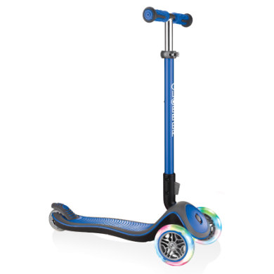 Globber Scooter Elite Deluxe mit Leuchtrollen, navy blau