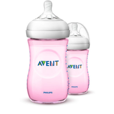 Philips Avent Natural lahvička SCF03427 260ml 2 ks růžová