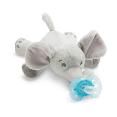 Philips Avent dudlík se zvířátkem SCF348/13 Snuggle slon + ultra soft tyrkysový