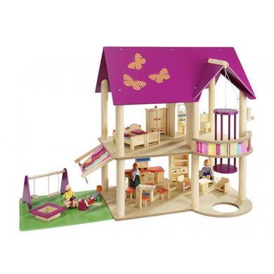 dům pro panenky s nábytkem a 4 panenky
