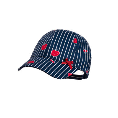 Minigirlaccessoires - maximo Girls Cap Fruits Streifen navy–red - Onlineshop Babymarkt