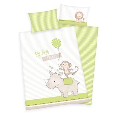 Kindertextilien - Herding Bettwäsche My first friends 100 x 135 cm grün  - Onlineshop Babymarkt