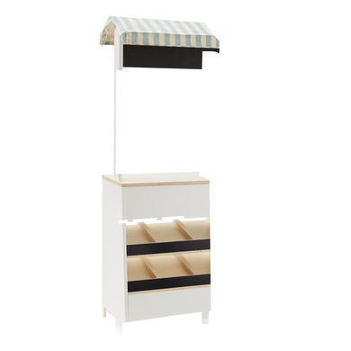 Kids Concept Dřevěný stánek Bistro, bílá barva, přírodní barva, dřevo