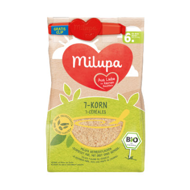 Milupa Getreidebrei Bio 7 Korn 180 g ab dem 6. Monat + Clip