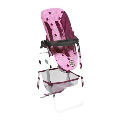 BAYER CHIC Jídelní židlička pro panenku růžovo - vínová hvězdička - pestrobarevná