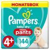 Pampers Baby Kuivat housut Gr. 4+ Maxi Plus 144 vaipat 9-15 kg kuukausittainen laatikko