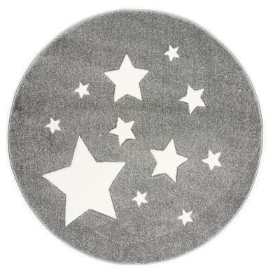 ScandicLiving Matta Stjärnor silvergrå, rund Ø 133 cm