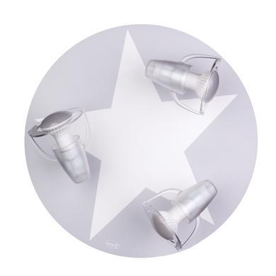 Kinderzimmerlampen - WALDI Deckenleuchte grau mit Stern weiß 3 flg.  - Onlineshop Babymarkt