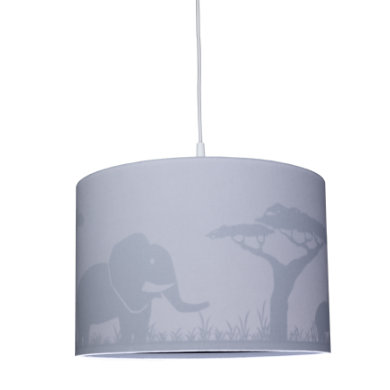 Kinderzimmerlampen - WALDI Pendelleuchte grau Silhouette Elefant 1 flg.  - Onlineshop Babymarkt