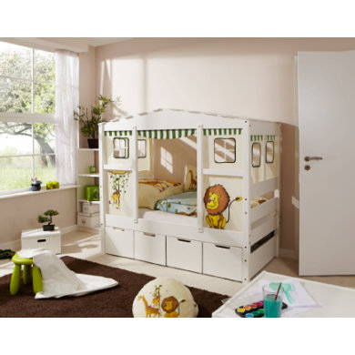 Kinderbetten - TiCAA Hausbett Mini mit 4 Schubladen Safari  - Onlineshop Babymarkt
